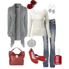 """""""Gray and Red"""" by nursiechrysie on Polyvore"""