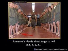 Marine Drill Instructor Inspects His Platoon Shortly Before Lights Out At MCRD Parris Island, South Carolina. Military Jokes, Army Humor, Military Life, Military Guys, Military History, Marines Funny, Us Marines, Once A Marine, Marine Mom