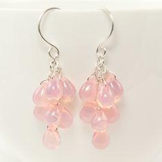 Light pink earrings teardrop cluster sterling silver dangle Czech glass wire wrapped briolette Spring fashion. $30.00, via Etsy.