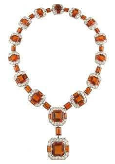 Cartier Citrine, Diamond and Platinum Necklace
