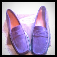 Tods 🎉HP 2/15🎉 Tods Classic Penny Loafers in Purple. Super shoes!! The tops are perfect, and soles show some wear. Great Shoes, no dust bag. Perfect for fall, winter and Spring!! Tod's Shoes