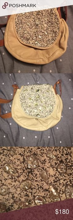 Jasper and Jeera Crossbody Leather Beaded Bag From anthropologie - tons of life left - great condition! Anthropologie Bags Crossbody Bags