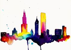Chicago Print of Watercolor Illustration by TalulaChristian