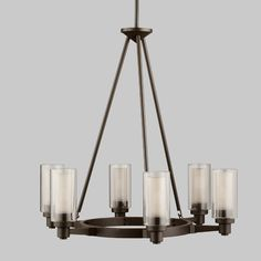 We love a circular chandelier for over a breakfast nook or kitchen table. | $614