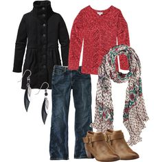 Ready for cool fall weather with pea coats, sweaters, scarves and boots.