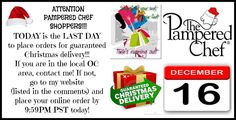 Today is the last day for on time Christmas Delivery for your Pampered Chef orders! Go to www.pamperedchef.biz/popi to get yours by 9:59PM PST today!