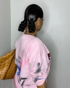 Two Ponytail Hairstyles, Two Buns Hairstyle, Hair Ponytail Styles, Black Girl Braided Hairstyles, Slick Hairstyles, Baddie Hairstyles, Girl Hairstyles, Modern Hairstyles, Weave Hairstyles
