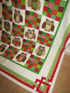 """What a Hoot, Heather"" - June 2010   (70"" x 99"")     Original design, quilted by Patty Butcher of Katydids Quilting. Buttons for eyes. :D"