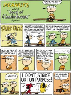 Peanuts Comic Strip, March 2014 - Lucy struggling at bat. Snoopy Comics, Snoopy Cartoon, Peanuts Cartoon, Peanuts Snoopy, Peanuts Comics, Charlie Brown Quotes, Charlie Brown And Snoopy, Funny Cartoons, Funny Comics