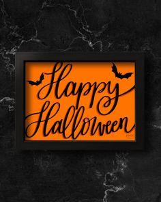 Halloween Prints, Halloween Halloween, Fall Home Decor, Autumn Home, Original Image, Original Art, Letter Art, Hand Lettering, Halloween Decorations