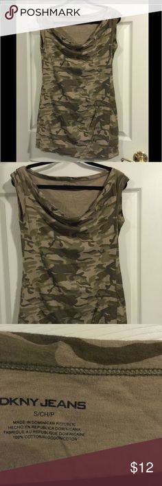 DKNY Camo dress or tunic small or medium This can be worn as a summer dress or fall tunic. Very soft and comfy fit. Is a small but could also fit a medium. DKNY Dresses