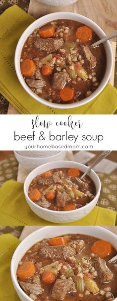 Slow Cooker Beef & Barley Soup - perfect for a chilly night