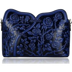 Pijushi Designer Floral Collection Leather Rose Clutch Handbags 22356 (one size, Blue): Handbags: Amazon.com featuring polyvore, women's fashion, bags, handbags, clutches, floral handbags, leather handbags, leather hand bags, floral leather purse and hand bags
