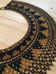 Handmade Native American collar necklace Fringe Necklace, Collar Necklace, Beaded Necklace Patterns, Beaded Bracelets, Boho Jewelry, Handmade Jewelry, Beaded Collar, Native American Beading, African Jewelry