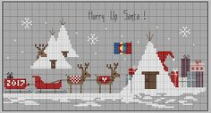 It is five hours . Santa Cross Stitch, Mini Cross Stitch, Modern Cross Stitch, Cross Stitch Designs, Cross Stitch Patterns, Theme Noel, Christmas Cross, Christmas 2017, Cross Stitching