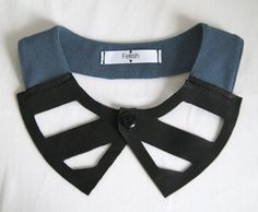 Deep teal collar and black leather by FetishbyAmandine on Etsy, €20.00
