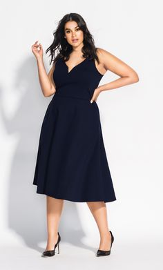 This cute girly fit & flare dress will do all that & more to your feminine silhouette. Key Features Include: - Deep V sweetheart neckline - A line skirt - Lined to the waist - Side pockets - Heavy weight stretch fabrication Cute Girl Dresses, Dresses For Work, Fit Flare Dress, Fit And Flare, City Chic Online, A Line Skirts, Cute Girls, Fitness Models, Girly