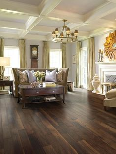 Love the floor! Distressed hardwood floors are surprisingly at home to a formal living space. Shaw Epic® engineered hardwood is a tough, stable surface with greater environmental sustainability than many hardwood floors. Photo courtesy of Shaw Floors