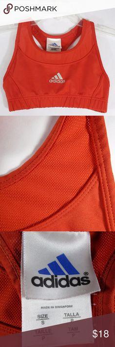 Adidas ClimaLite Sports Bra Small Racerback Orange Womens Adidas ClimaLite S Racer Back Sports Bra Running Reflective Yoga Orange - EUC with no flaws. adidas Intimates & Sleepwear Bras