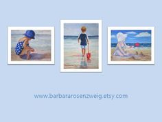 A great watercolor ART PRINT SET to instantly decorate a nursery, child's room, beach house or any room in your home by Barbara Rosenzweig. 3 matted 11x14 fine art prints. BUY NOW & SAVE https://www.etsy.com/listing/242012899/beach-art-print-set-nursery-home-decor?ref=shop_home_active_2