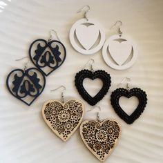 Craftadian with Heart by JACQUELINE on Etsy Heart Shaped Earrings, Big Earrings, Lace Heart, Wooden Hearts, Heart Jewelry, Heart Shapes, Floral Prints, White Gold, Articles