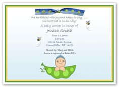 Sweet Pea in the Pod Baby Boy Shower Invitation - My favorite so far!!