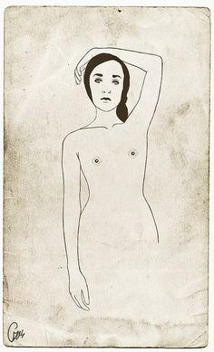 Universe by *Nishe, via Flickr (jenom jednoduchá kresba osoby věci, v jedné barvě)