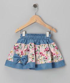 Love this Light Pink Denim Floral Skirt - Toddler & Girls on #zulily! #zulilyfinds