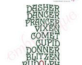 Reindeer Names Embroidery Design - Large