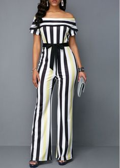 High Waist Overlay Striped off The Shoulder Jumpsuit Rosewe USD 34 61 High Waist Overlay Stri African Fashion Dresses, African Dress, Fashion Outfits, Womens Fashion, Fashion Clothes, Latest Fashion, Striped Jumpsuit, Navy Jumpsuit, Summer Jumpsuit