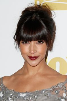 Updo with bangs. love the little bit of longer pieces on the sides