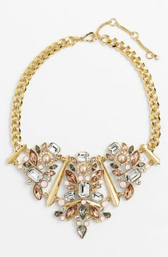 Sparkly blush, crystal and gold bib necklace for prom.