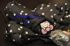 2013 Sanrio Hello Kitty Questina Polka Dot UV 3 Section Fold Umbrella Diecut Bag | eBay