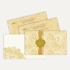 This card is made out of ivory paper board with matching mailing envelope. Card front has golden paisley design all around, gold ribbon is overlapped with laser cut 3d paste up having gold plated Bismillah on it. ‪#‎IslamicWeddingCard‬ #wedding