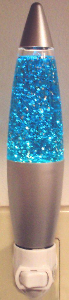 Aqua Blue Liquid and Silver Glitter Sparkle Magic Night Light