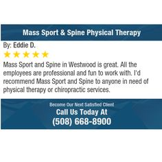 Mass Sport and Spine in Westwood is great. All the employees are professional and fun to...