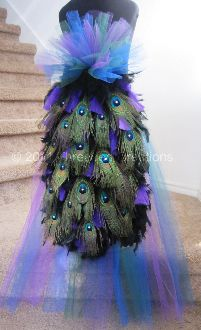 Peacock Feather Bustle Tail Deluxe Version For Costume