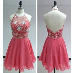 Watermelon Short Beaded Prom Dresses,Halter Open Back Chiffon Homecoming Dresses,Charming Cocktail Dresses,Cheap Party Dresses