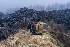 Tyre graveyard, Tartu. Once you've learnt to notice how mist generates stories, you start wandering to the strangest places during the fog. The stranger the place, the more amplified the adventure becomes.