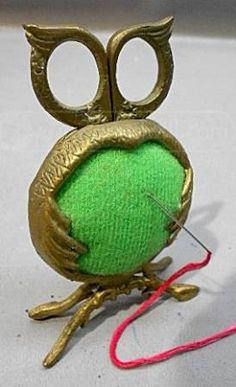 Vintage Brass Owl Pin Cushion & Scissors