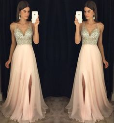 New Arrival Prom Dress,Modest Prom Dress,sparkly crystal beaded v neck open back long chiffon prom dresses,Sexy dress,Split at lower part of dress
