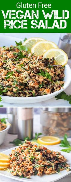 This vegan wild rice salad with walnuts, lemons, parsley and nutritional yeast makes for the perfect dinner side dish or even full entree. Gluten Free too.