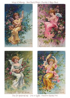 Wings of Whimsy: New Year's Music Cherubs - free printable for personal use Vintage Tags, Vintage Ephemera, Vintage Prints, Vintage Labels, Decoupage Vintage, Vintage Paper, Vintage Pictures, Art Pictures, Printable Art