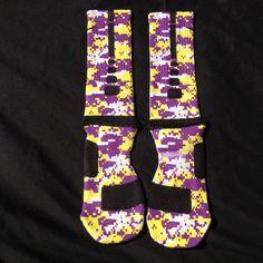 24f54b348 Purple   yellow Digi Camo Custom Nike Elite Socks · Sock Insanity · Online  Store Powered