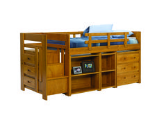 Woodcrest Mini Stair Bunk. Shown with optional shelves and chest.