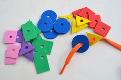 Shape Lacing Busy Bag for Preschoolers. Great color, shape and fine motor activity.