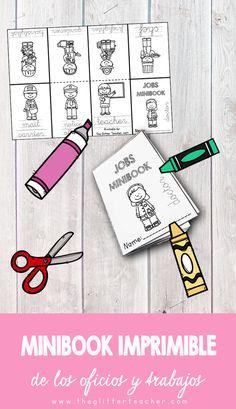 Minibook imprimible para afianzar el aprendizaje de la forma escrita y la pronunciación del vocabulario clave de los oficios y profesiones en inglés en educación primaria.