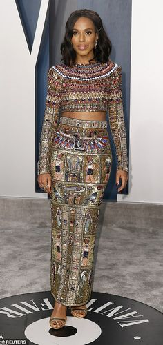 Queen: Kerry Washington wore an immaculate beaded two piece which appeared to feature anci...