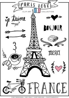 """Paris Love Clip Art : Since Valentine's Day is right around the corner, I thought I share a little """"LOVE"""" with you all! Last summer a good friend of mine went on a missions trip to France, and as a gif… Paris Themed Birthday Party, Paris Party, Spa Birthday, Birthday Design, Paris Amor, Thema Paris, Paris Kunst, Art Parisien, Image Paris"""