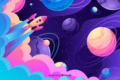 Colorful gradient space with a rocket background Free Vector Space Illustration, Digital Illustration, Posca Art, Space Backgrounds, Backgrounds Free, Art Plastique, Art Sketchbook, Art Reference, Vector Art